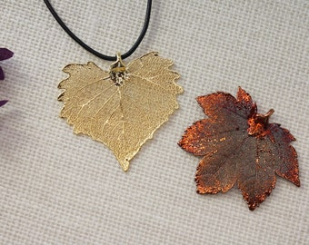 SALE Leaf Necklace, Lacey Oak Leaf, Copper Real Leaf Necklace, Copper Maple Leaf, Real Leaf Pendant, Gold Leaf, Holiday Gifts SALE302