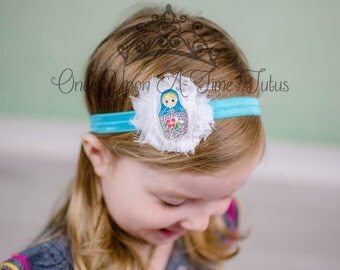 Nesting Doll Blue Shabby Flower Headband - Matryoshka Hair Bow - Turquoise White Classic Heritage Birthday Party Hairbow - Photo Prop