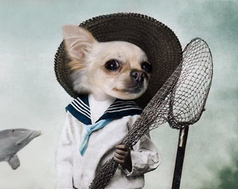 Captain Tim, Chihuahua Print, Vintage Dog, Anthropomorphic, Whimsical Dog Art, Photo Collage, Funny Photo, Fisherman Chihuahua, Quirky Art