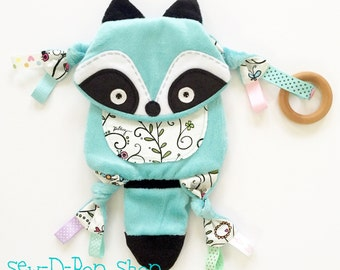 Woodland Raccoon Baby Blanket Toy Pacifier Clip Pals