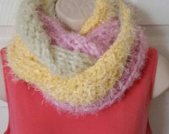 Fuzzy chukie multitone cowl infinity neckwarmer scarf, cowl scarf, warm scarf