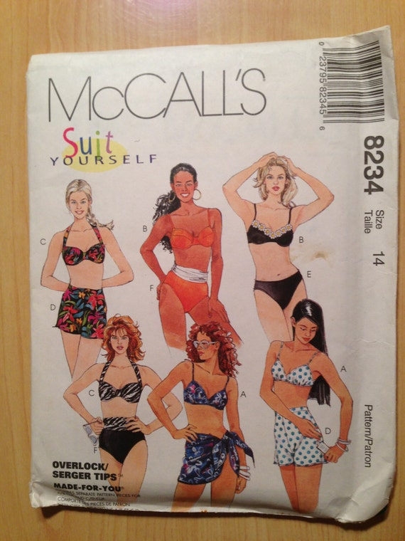 Misses Two Piece Swimsuit and Sarong McCalls Sewing Pattern 8234 90s Size 14