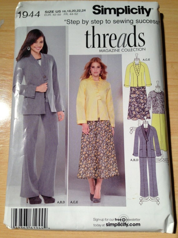 Simplicity 1944 Sewing Pattern Misses Jacket in Two Lengths, Top, Skirt and Pants Uncut Size 16-24