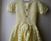 ON SALE Vintage crochet baby dress / Pretty yellow baby dress / baby girl size 3 to 6 months
