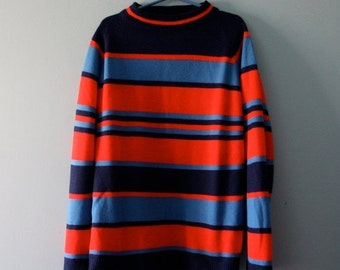 ON SALE Vintage Striped Shirt / Woolcrest sweater in red and blue / Mock turtleneck style top / Boys size XL 10 to 12