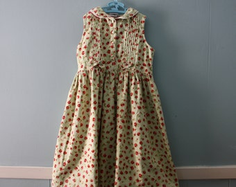 Girl's Vintage Floral Print Cotton Dress , Mint Green Dress with Red Roses Sleeveless Dress / Girl's size 6