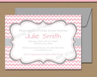 Pink and Gray Baby Shower Invitation Template - EDITABLE Baby Shower Invitation Girl - Printable Bridal Shower Invite Digital Download BB1