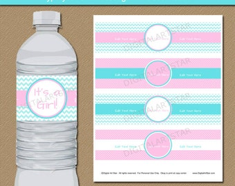 Pink and Aqua Baby Shower Water Bottle Label Template - Printable Girl Baby Shower Water Labels - Editable Girl Birthday Party Decorations