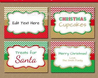 Printable EDITABLE Christmas Food Labels - Red Green Gold Chevron Candy Buffet Labels - Holiday Tent Cards, Place Cards - INSTANT DOWNLOAD