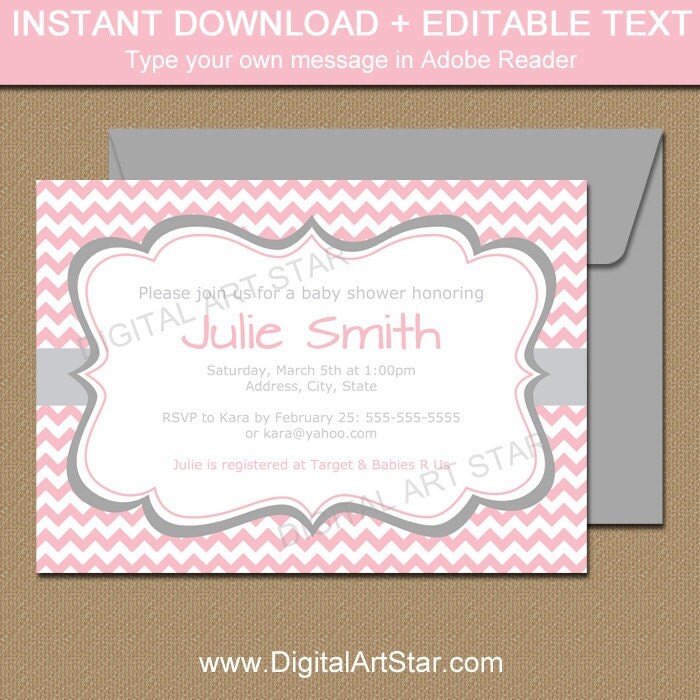 Pink And Gray Baby Shower Invitation Template EDITABLE Baby
