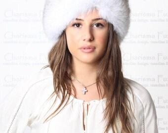 Canadian Blue Fox Fur Headband