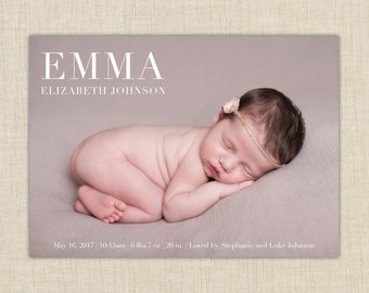 birth announcement girl. photo baby announcement