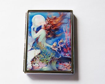 Mermaid Cigarette Case, Slim Cigarette Case, Mermaid with pearl, Cigarette Holder, Cigarette box, mermaid fantasy, blue (6056)