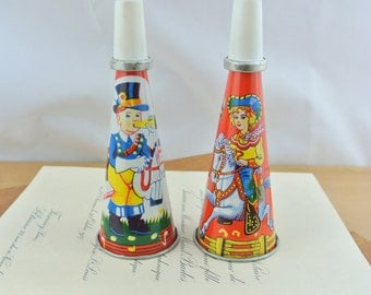 Pair of Vintage Toy Tin Litho Horns | Tin Metal Noisemakers | 1960's Noise Makers