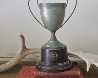 Vintage Large Silver Plated & Bakelite Trophy Cup from Australia Room Decor 1920's Boxing
