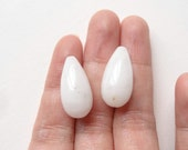 White Quartzite Half Top Drilled Smooth Fat Drops 10x20 mm One Pair Perfect for earrings K4394