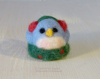 Needle Felted Bird Christmas Ornament -wool felted Christmas tree decoration