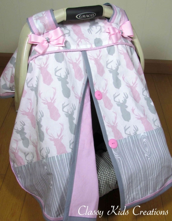 Pink And Gray Stag Deer Car Seat Canopy Baby Carseat Cover