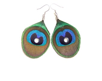 Trimmed Peacock Feather Earrings, Peacock Jewelry, Peacock Earrings, Peacock Feather Accessories