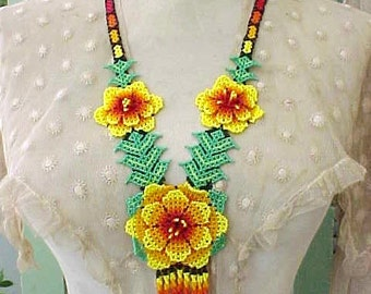 Amazing Beadwork Necklace with Large Flowers