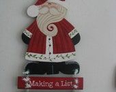 Santa, Santa Claus, Christmas, list, wall hanging, wall decor, handpainted, wood