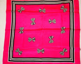 Vintage BB Baar & Beards All SILK Hot Pink Bows Black and White Stripes Square HRE Scarf