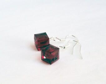 Swarovski earrings - sterling silver earrings - crystal cube earrings - siam red earrings - red crystal earrings - red earrings - deep red