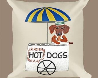 Dog Pillow/Dachshund Hot Dogs Pillows/Dachshunds/Dachshund Pillow/ Dog Pillow & Insert/Squirreldumplings/Wiener Dog Pillow/Hot Dog