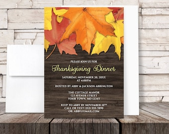 Thanksgiving Dinner Invitations - Rustic Autumn Leaves and Brown Wood design for Fall - Printed Invitations