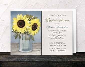 Sunflower Bridal Shower Invitations - Rustic Yellow Floral Mason Jar design over Blue with Beige - Country Cottage Chic - Printed
