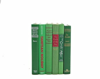 VIbrant Green Books, Book Stack, Decorative Books, Old Book Set Set, Instant Library, Vintage Book Collection, Home Decor, Interior Design