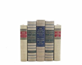 Antique Linen Decorative Books, Gray Book Set, Vintage Book Centerpiece, Old Beige Books, Instant Library, Books, Book Collection, maugham