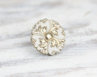 Vintage Round Drawer, Cabinet Pull, Handle w/ scallop leaf Ornate pattern, antiqued gold and white finish