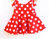 Red Polkda Dots Twirl Dress - Toddler Girls Dress - Jumper - Summer Outfit - Red - Baby Shower - Birthday Gift - Handmade in USA