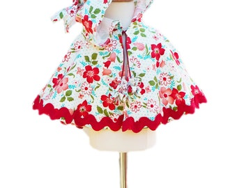 Moda Red Baby Toddler Cape - Infant Poncho - Baby Girls - Girls Poncho Pattern - Toddler Jacket - 3M to 5