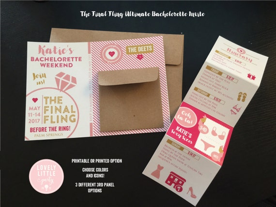 Final Fling Before the Ring Ultimate Bachelorette Party Weekend/Night Out Invitation -  Lovely Little Party