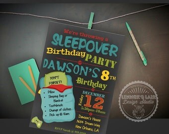 Boy's Slumber Party Sleepover Birthday Invitation Printable