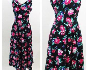 Vintage 1980's Lanz Original Floral Sundress - Black Floral Dress - Sweet heart Day Dress - Medium Large- The old County Road