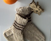 Little teddy bear -Children's boot/ wool socks, Warm, Durable, Cozy, Handknitted, gray brown, 2y 3y,Machine washable, Handmade in FINLAND