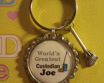World's Greatest Custodian/Janitor key chain with charms