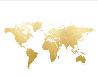 World Map Gold Foil Clip Art State - Commercial Use, Globe, North America, South America, Europe, Asia - INSTANT DOWNLOAD
