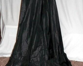 Vintage Black Petticoat, Victorian, Black Silk Taffeta