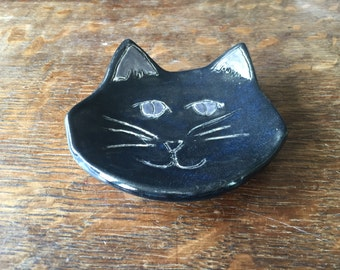 Spoon Rest Stoneware Clay BLACK CAT
