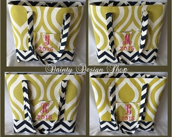 Nicole Artist Green -Navy Chevron Extra Large Canvas Tote Bag 17.5w x 13h with Lining and MAGNETIC ENCLOSURE, Free Monogram