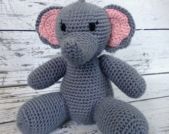 Jellybean the Elephant, Crochet Elephant, Stuffed Animal, Elephant Amigurumi, Plush Animal, MADE TO ORDER