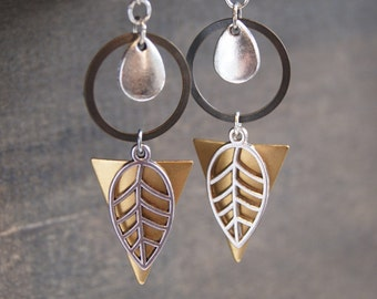 Geometric Leaf Earrings Mixed Metal Earrings Retro Geometric Jewelry Sacred Geometry Woodland Leaf Earrings Retro Hippie Earrings Vintage