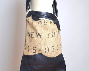 End Of Summer SALE Burlap and Leather Tote Bag - Coffee Burlap Tote - Large Tote Bag - New York - Coffee Bean Bags - Extra Large Tote