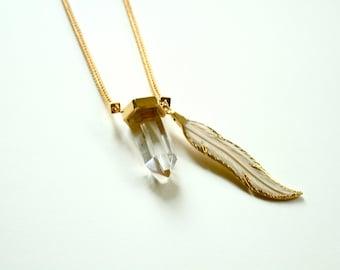 24K Golden Clear Quartz Crystal Feather Necklace