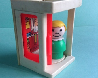 Fisher Price Little People 'Chatty' Girl Figure and Telephone Booth / pay phone, original, collectible, vintage toys, egst, Greece