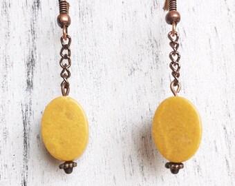 Butterscotch Jasper, Copper, Earrings